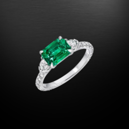 Untreated No Oil Afghani Emerald Diamond Platinum Ring 1.47 Carat
