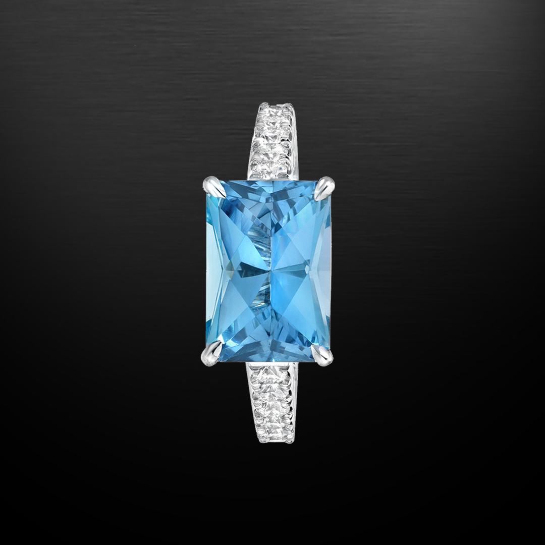 Aquamarine Diamond Platinum Ring 2.59 Carat