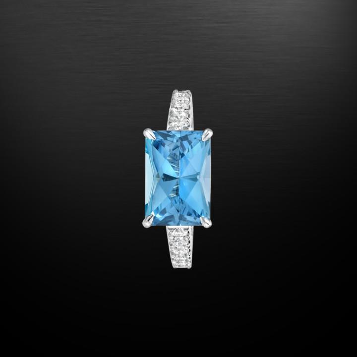 2.59 Carat Aquamarine Diamond Platinum Ring
