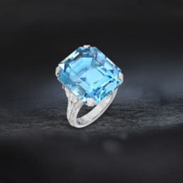 20.37 Carat Brazil Aquamarine Diamond Platinum Ring