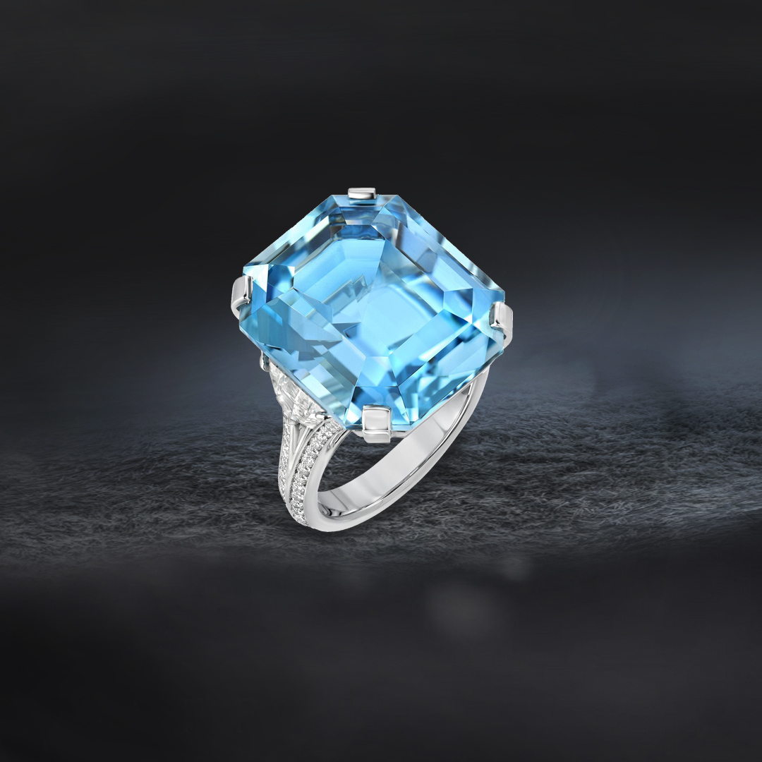 20.37 Carat Brazil Aquamarine Diamond Platinum Ring