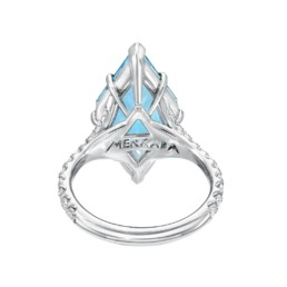 Aquamarine Cocktail Ring 4.74 Carat Shield Modern Diamond Platinum Ring4