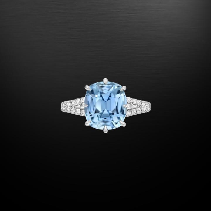 Natural Unheated 4.67 Carat Burma Sapphire Diamond Platinum Ring