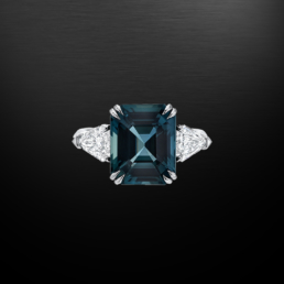 Natural Unheated Blue Sapphire Diamond Platinum Ring 6.07 Carat