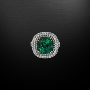 Colombian Emerald Platinum Gold Ring Cushion 9.07 Carat Gubelin Certified