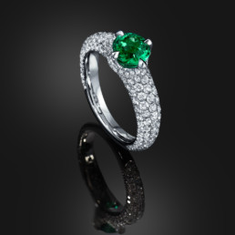 "Untreated ""No Oil"" 0.79 Carat Colombian Emerald Diamond Platinum Ring"
