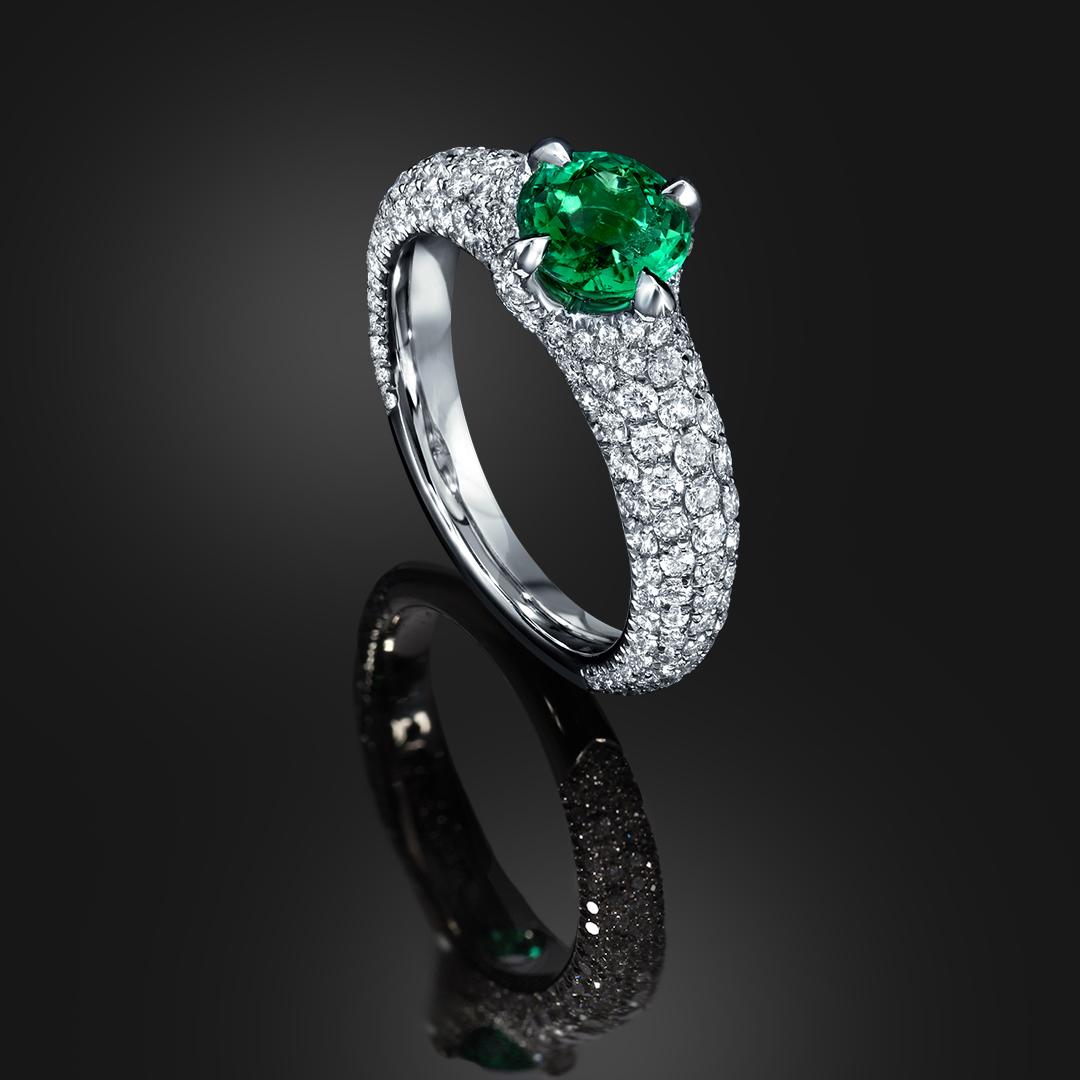"Untreated ""No Oil"" 0.79 Carat Colombian Emerald Diamond Platinum Ring"