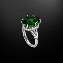 Chrome Green Tourmaline Diamond Platinum Ring 7.70 Carat