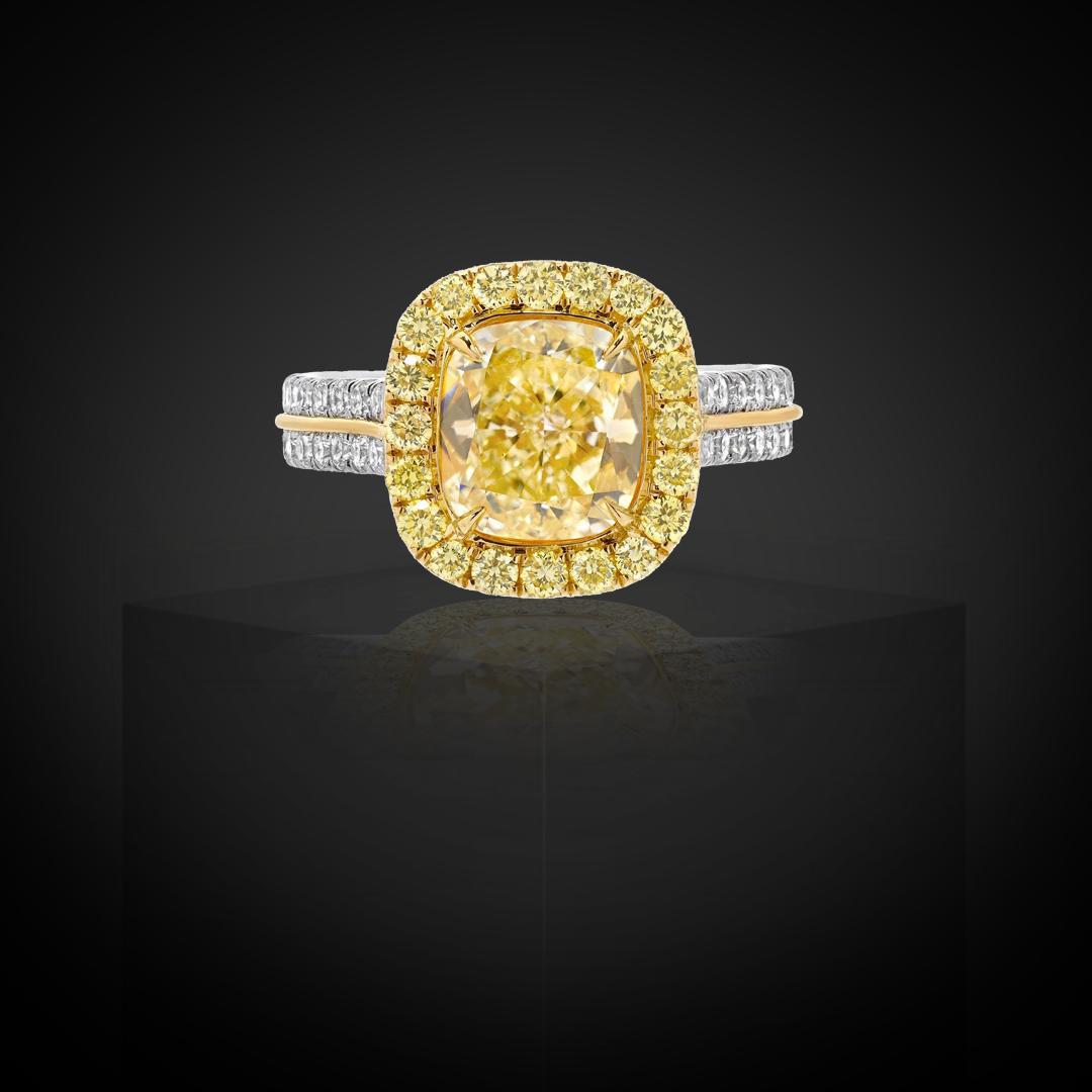 Fancy Light Yellow Diamond Cushion Cut Ring GIA Certified 2.40 Carats