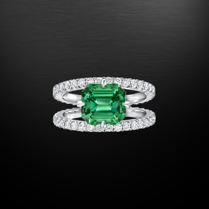 Green Tourmaline Diamond Ring 2.76 Carat
