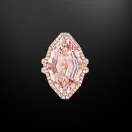 Morganite Diamond Rose Gold Ring 10.69 Carat