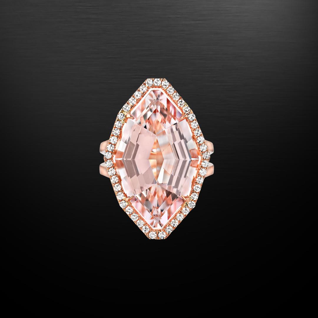 Morganite Diamond Rose Gold Ring 10.69 Carat