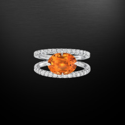 Mandarin Garnet Diamond Platinum Ring 3.65 Carat