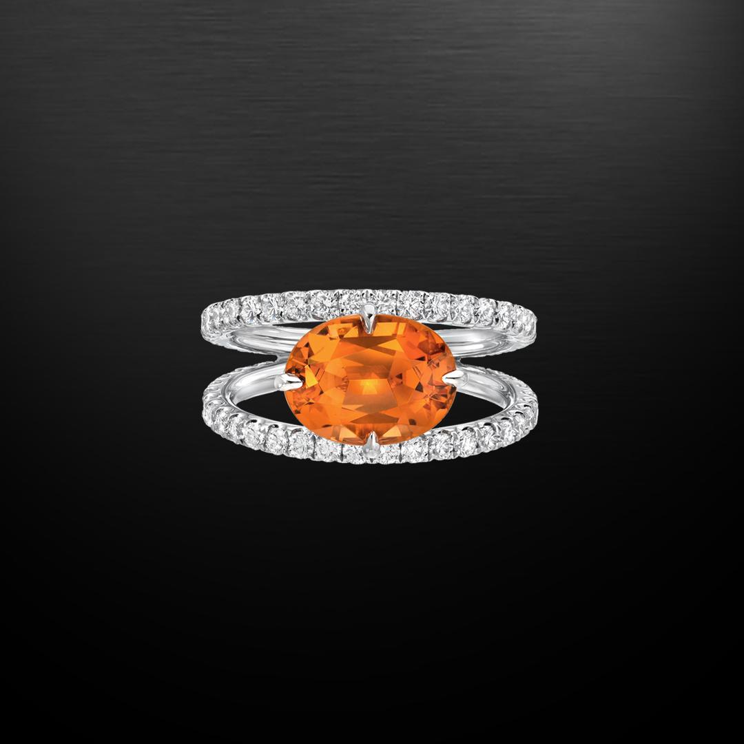 Mandarin Garnet Diamond Platinum Ring 3.65 Carat