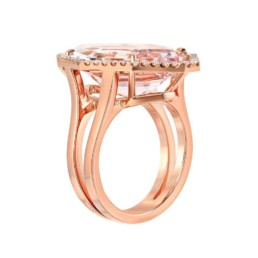 10.69 Carat Morganite Diamond Rose Gold Ring