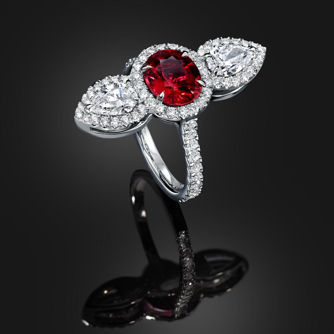 Natural Unheated 2.09 Carat Ruby Diamond Platinum Ring