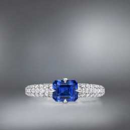 Natural Unheated 1.42 Carat Blue Sapphire Diamond Platinum Ring