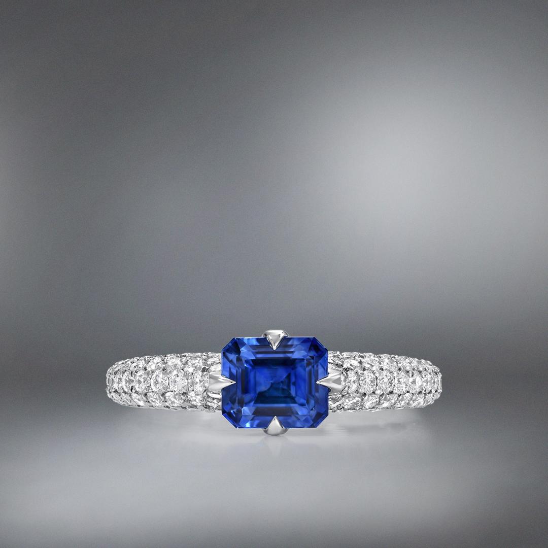 Natural Unheated 1.42 Carat Blue Sapphire Diamond Platinum Ring