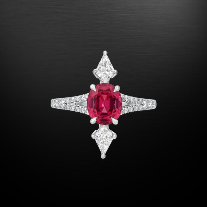 Pink Spinel Diamond Platinum Modern Ring