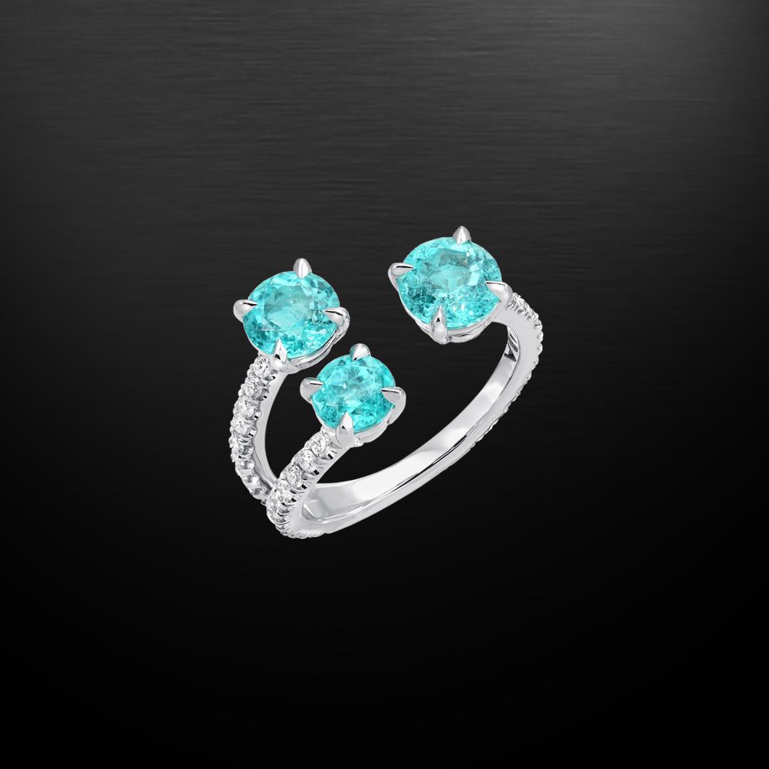 Brazil Paraiba Tourmaline Diamond Platinum Ring