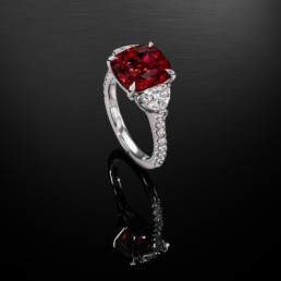 Burma Red Spinel Diamond Platinum Ring 5.05 Carat