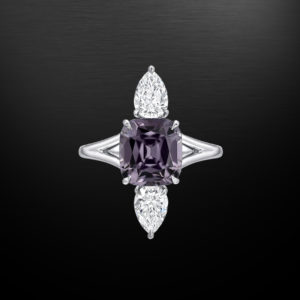Burma Spinel Diamond Platinum Ring 3.14 Carat