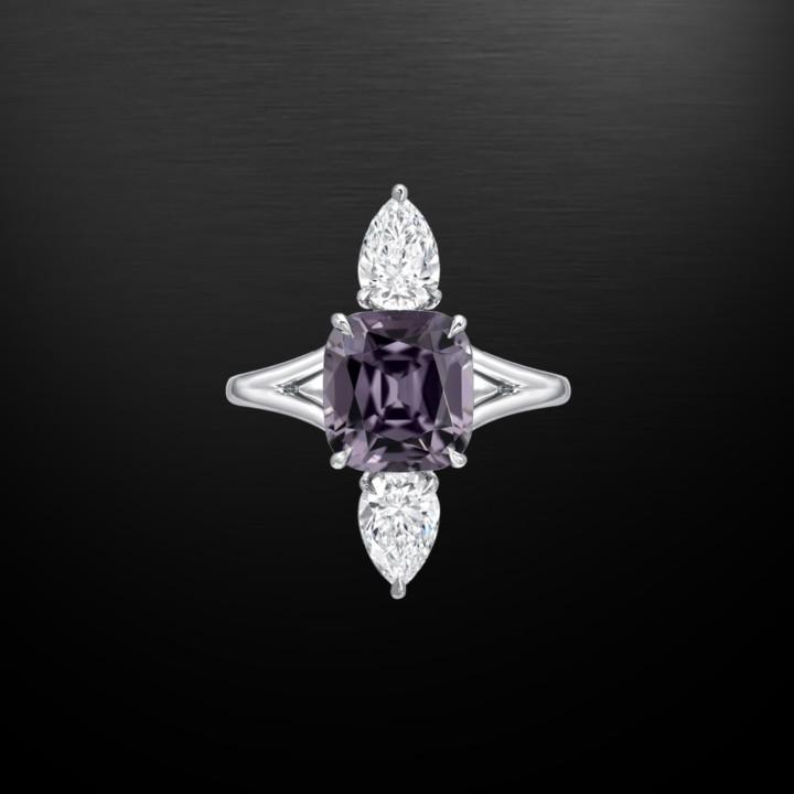 Burma Spinel Diamond Platinum Ring 3.14 Carat