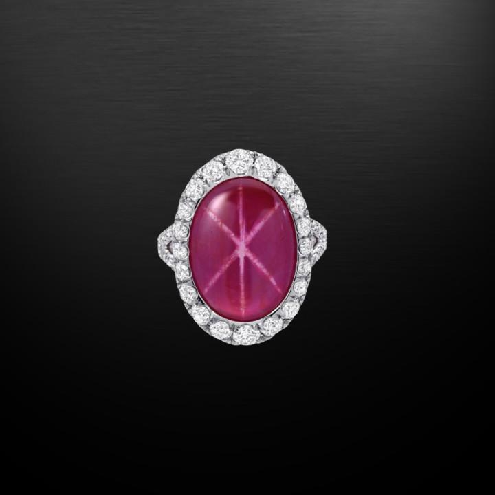 Natural Unheated 9.91 Carat Star Ruby Diamond Platinum Ring