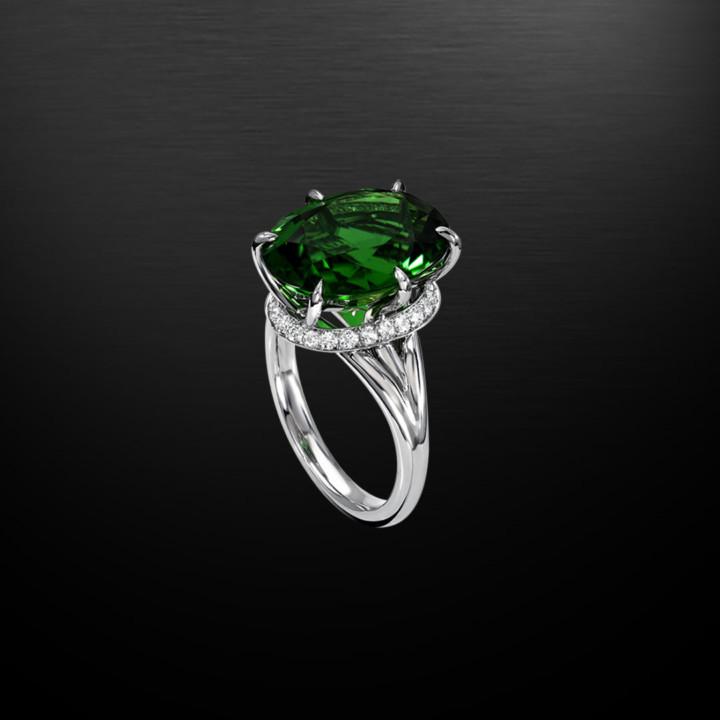 Chrome Tourmaline Diamond Platinum Ring 7.70 Carat