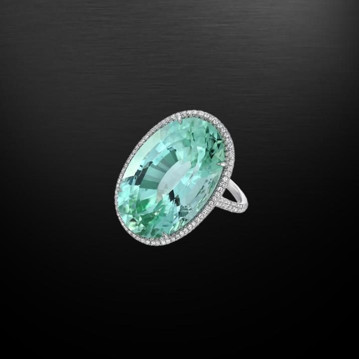 Unheated Tourmaline Diamond Ring