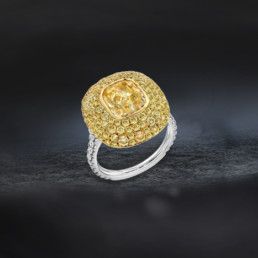 Fancy Light Yellow Diamond Cushion Cut Ring GIA Certified 3.01 Carat