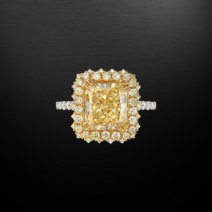 Fancy Light Yellow Diamond Radiant Cut Ring GIA Certified 3.78 Carat