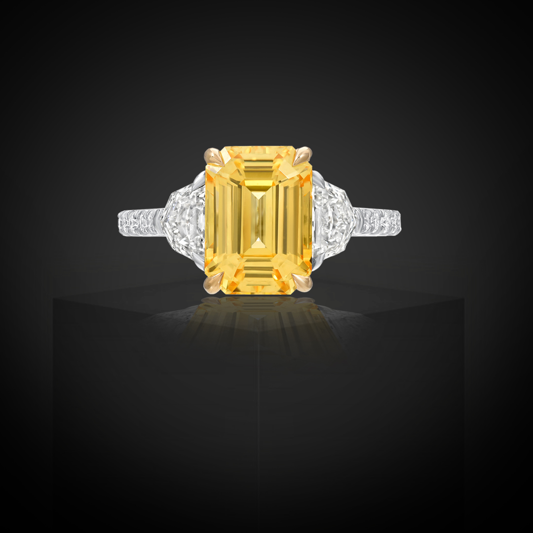 Natural Unheated 4.47 Carat Ceylon Yellow Sapphire Diamond Ring
