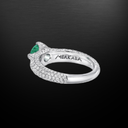 Untreated No Oil Colombian Emerald Diamond Platinum Ring