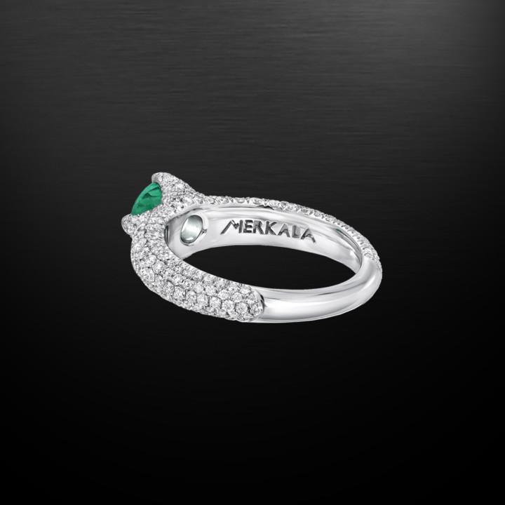 Untreated No Oil Colombian Emerald Diamond Platinum Ring