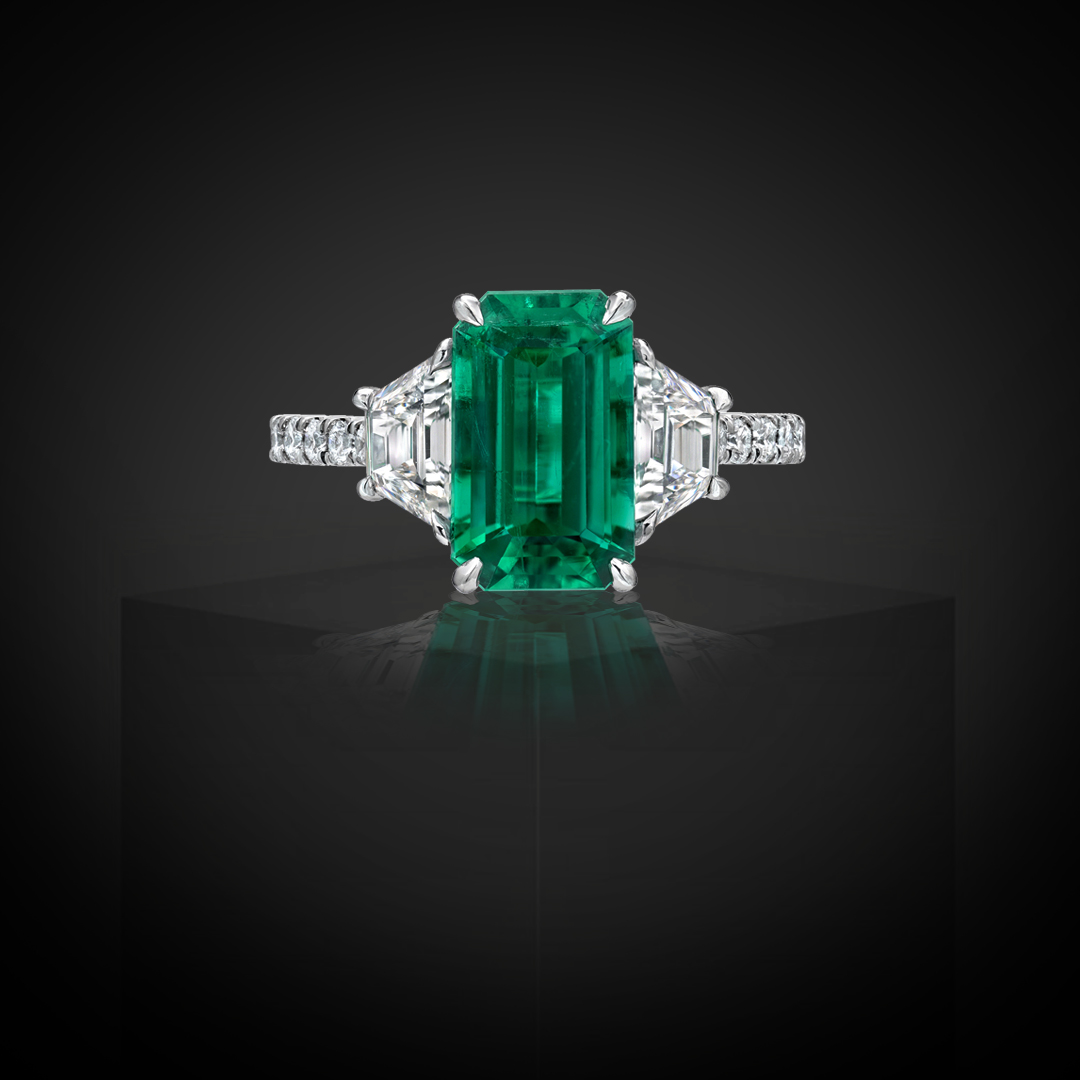 Colombian Natural Emerald Ring Emerald Cut 2.17 Carats AGL Certified Untreated