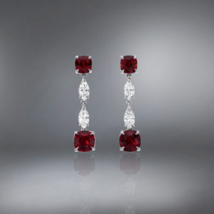 Natural Unheated Ruby Platinum Earrings