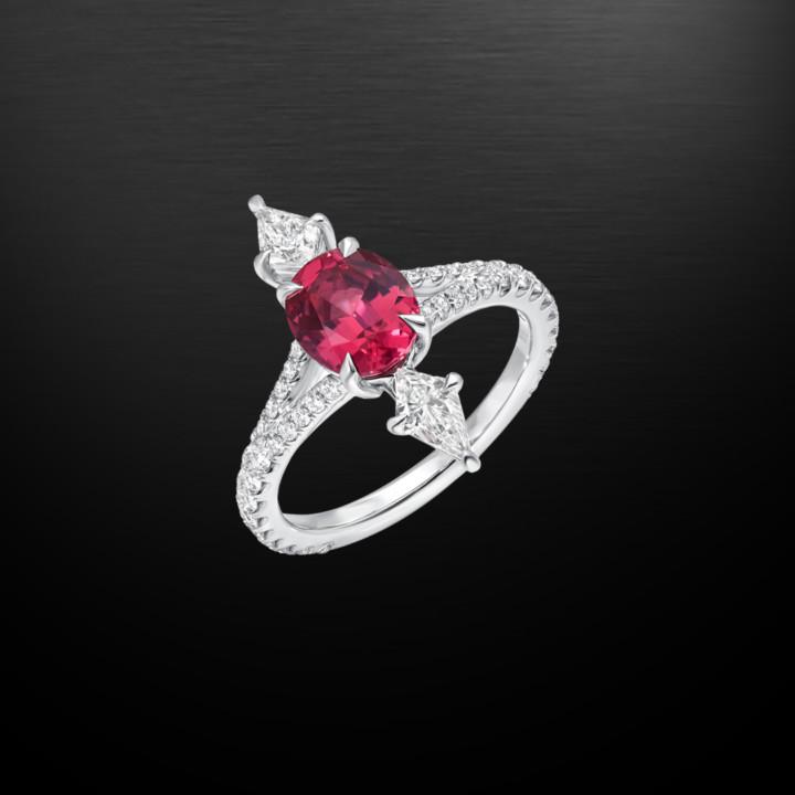 Pink Spinel Diamond Platinum Ring