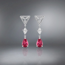 Pink Spinel Diamond Platinum Earrings