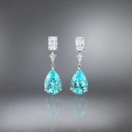 Paraiba Tourmaline Diamond Platinum Earrings,