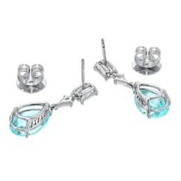Paraiba Tourmaline Earrings Diamond Platinum Pear Shape Drop Earrings 3