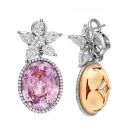 Pink Sapphire Diamond Earrings GIA Certified 36.64 Carat