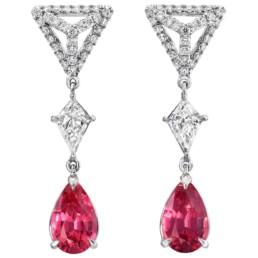 Pink Spinel Earrings Diamond Platinum Pear Shape Drop Earrings3