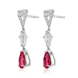 Pink Spinel Earrings Diamond Platinum Pear Shape Drop Earrings3