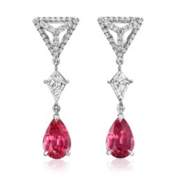 Pink Spinel Earrings Diamond Platinum Pear Shape Drop Earrings4