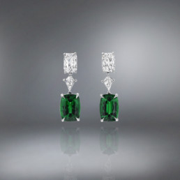 Tsavorite Diamond Platinum Earrings