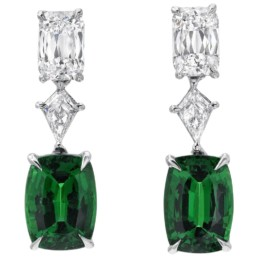 Tsavorite Diamond Platinum Cushion Green Drop Earrings