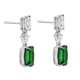 Tsavorite Diamond Platinum Cushion Green Drop Earrings2