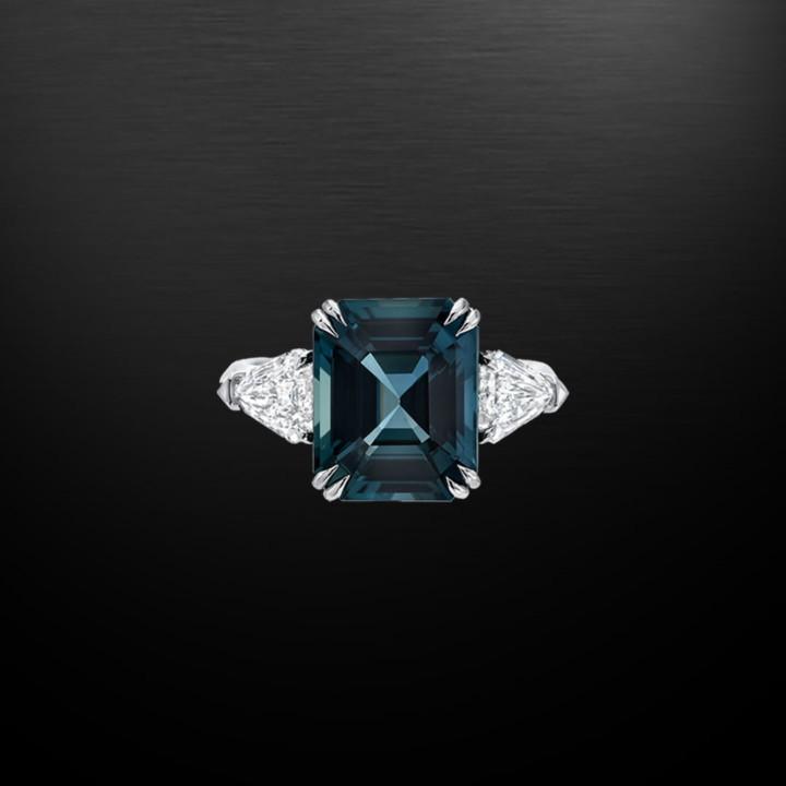 Natural Unheated 6.07 Carat Blue Sapphire Diamond Ring