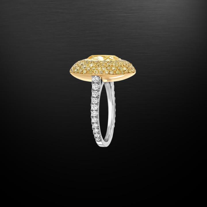 Fancy Light Yellow Diamond Cushion Cut Ring G.I.A. Certified 3.01 Carats
